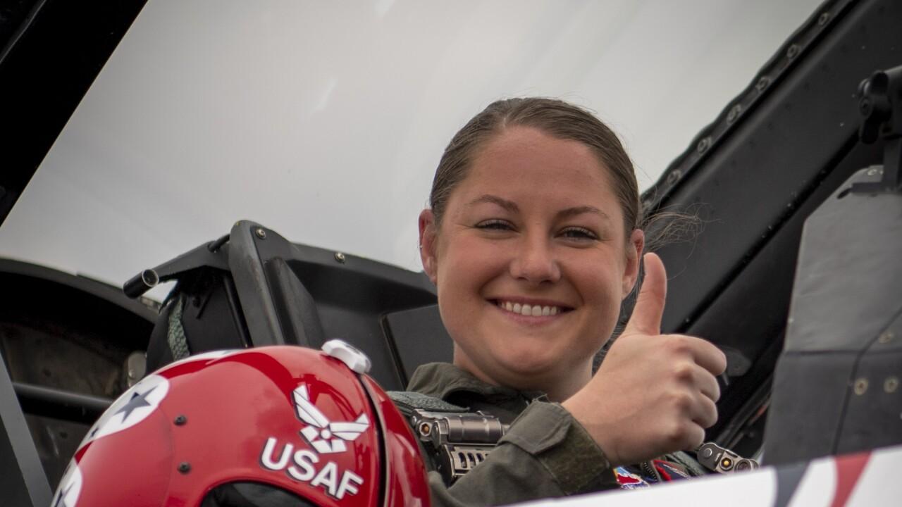 Metro Police Officer Brenna Hosey flies with Thunderbirds