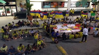 Colombians living in Palm Beach County hold a rally in Palm Springs on May 4, 2021.