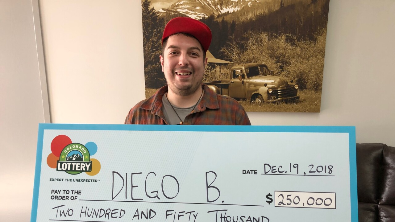 Diego B. won $250k in a Colorado Lottery second-chance drawing