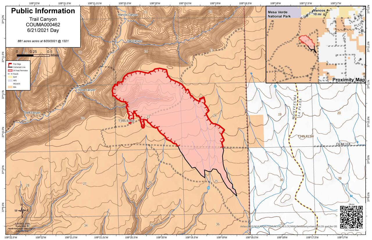 Trail Canyon Fire map as of June 23 2021