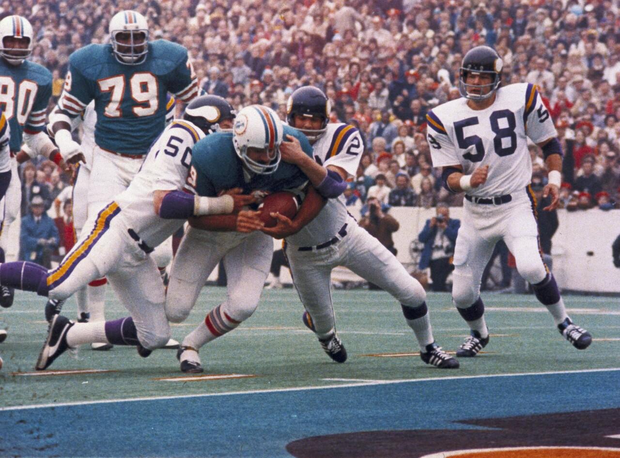 Miami Dolphins fullback Larry Csonka vs Minnesota Vikings in Super Bowl VIII