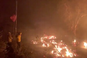 Firefighters in California save American flag from Lake Fire flames