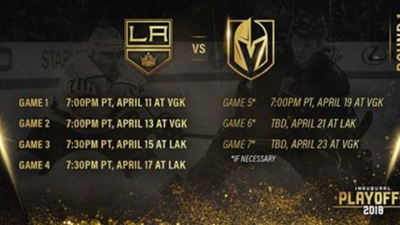 Schedule  Vegas Golden Knights take on the Kings in NHL playoffs 256370b9e