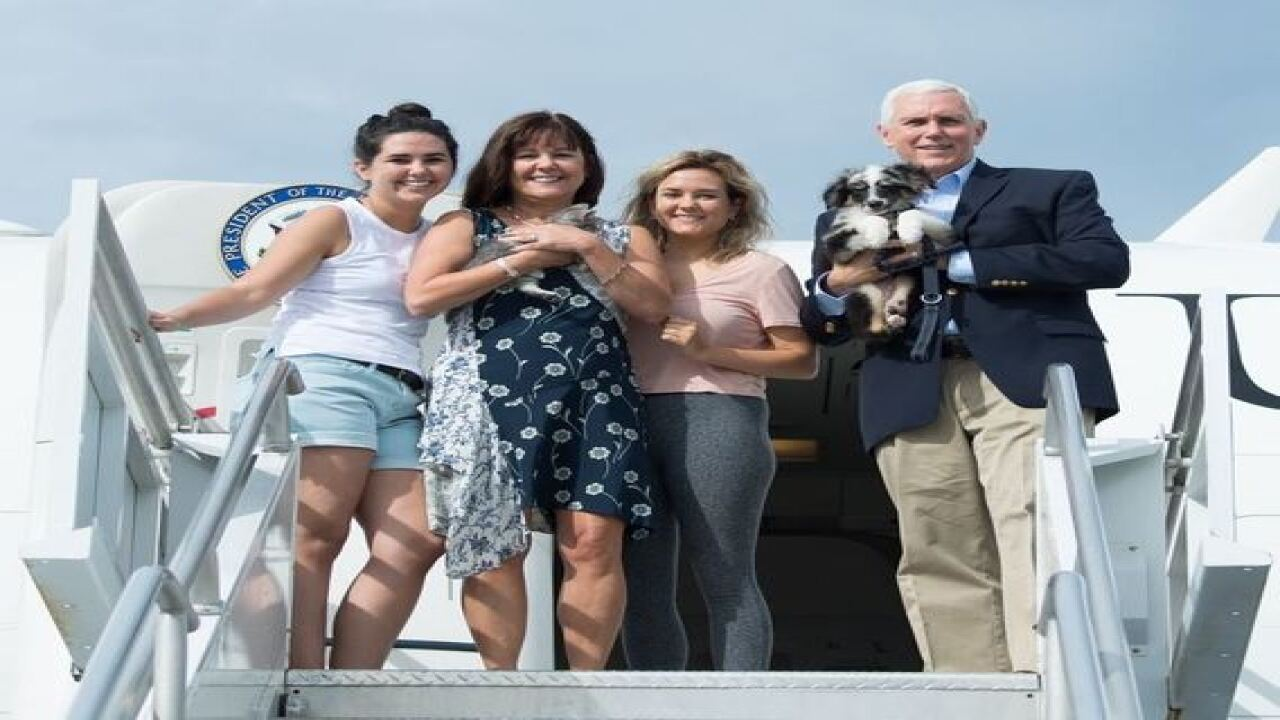 Pence family welcomes puppy, kitten to family during trip to Indiana