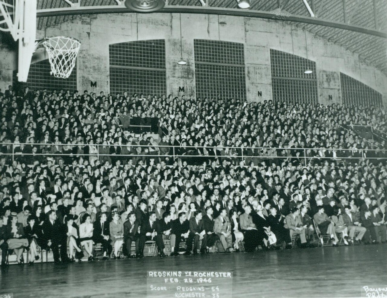 Crowds gathering to watch a basketball game inside The Armory. Image Preserved by the Sheboygan County Historical Research Center.
