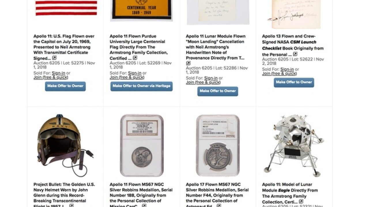 Neil Armstrong memorabilia fetches $7.5 million at auction