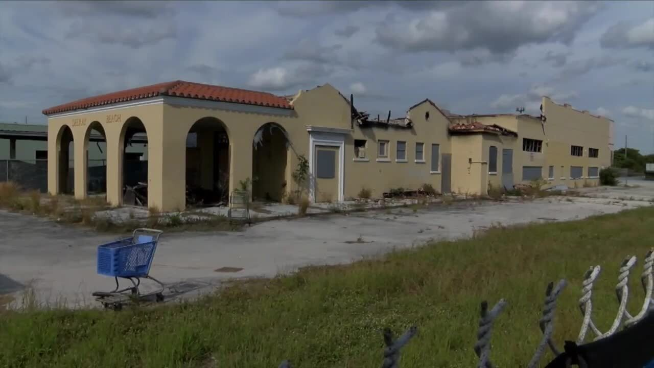 Historic Delray Beach train station after fire