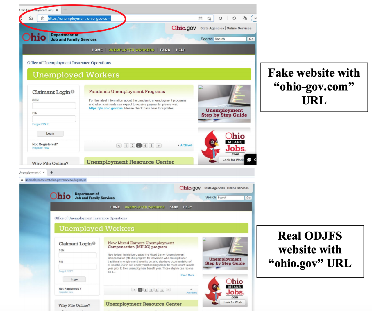 ODJFS released images showing how closely a fake website used by cyber criminals mirrors the real ODJFS website last month.