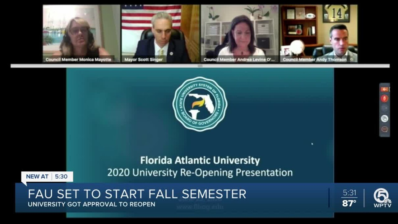 Florida Atlantic University officials presented their reopening plan to the Boca Raton City Council during an online meeting held July 27, 2020.