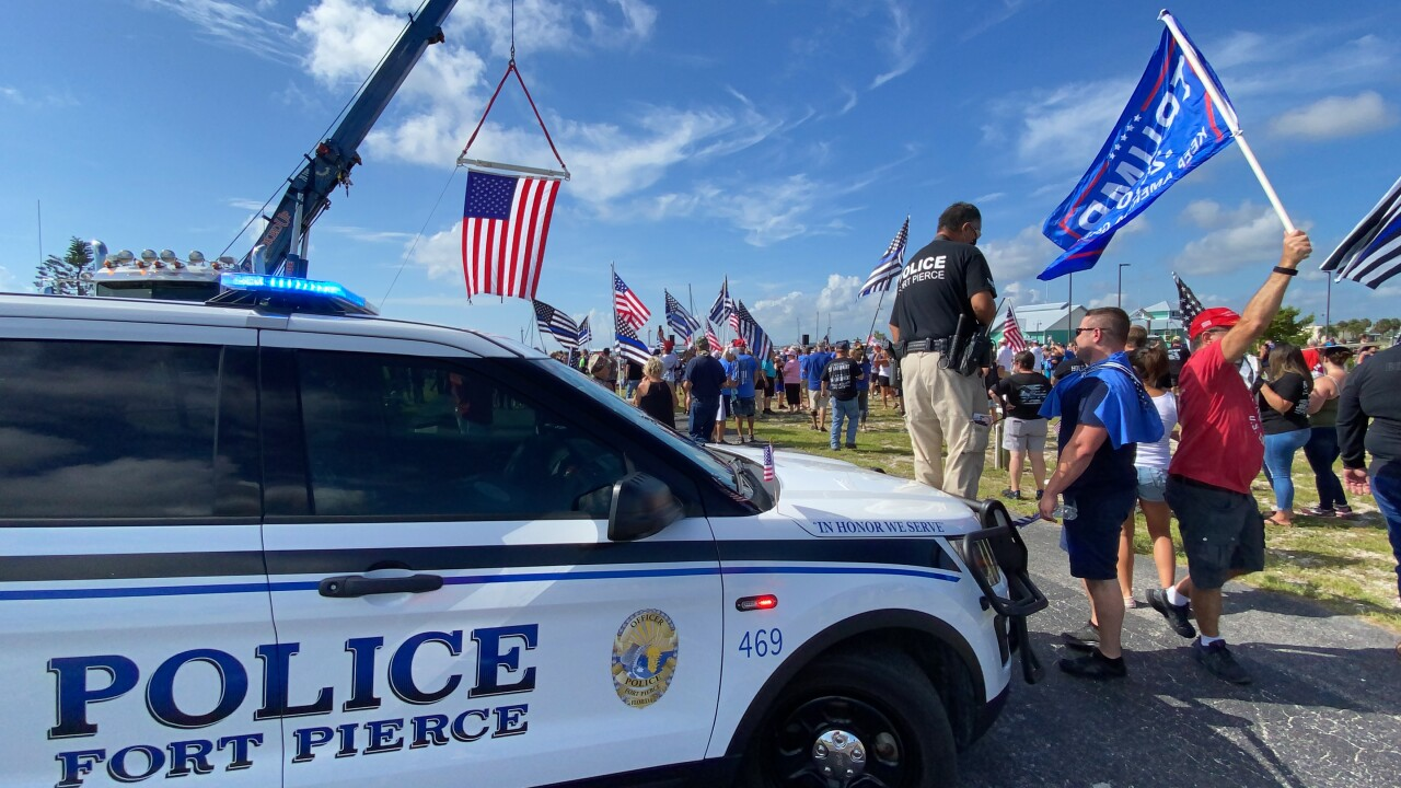 """In Fort Pierce on Saturday, the St. Lucie County Business and Community Alliance held a """"Back The Blue"""" rally to show support for Fort Pierce police and the St. Lucie County Sheriff's Office."""
