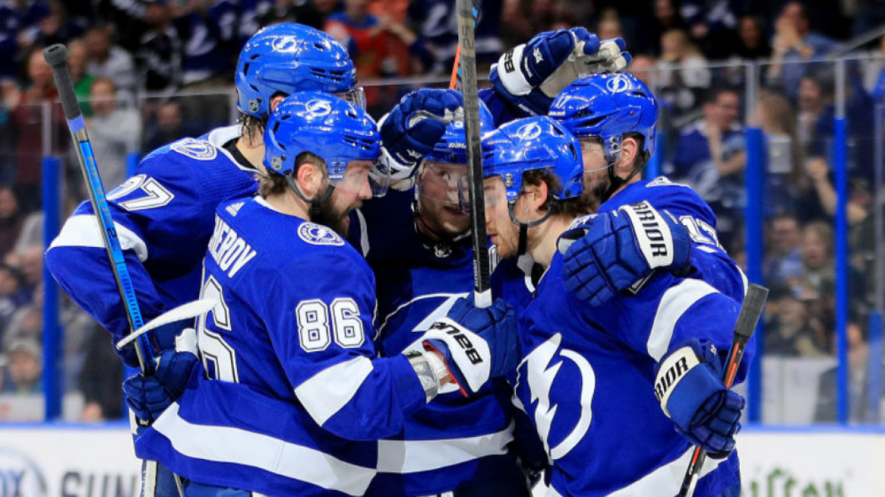 carter verhaeghe s hat trick helps tampa bay lightning rout vancouver canucks tampa bay lightning rout vancouver canucks