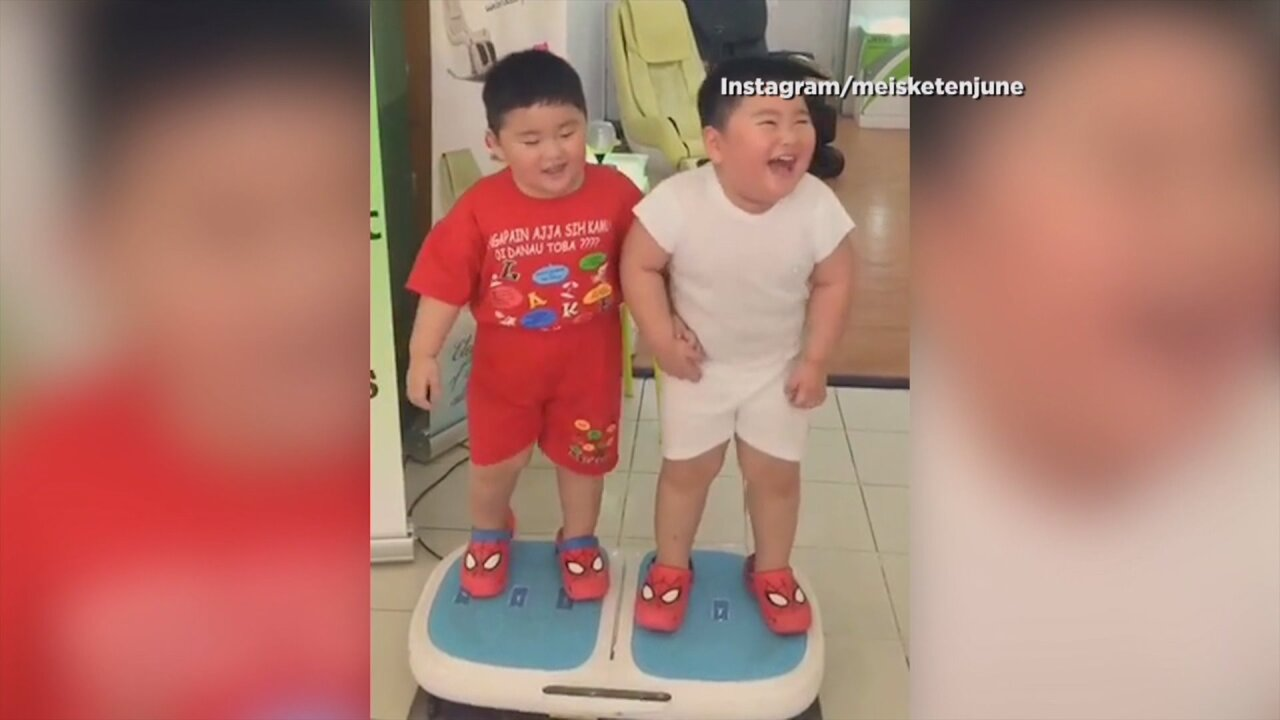 Viral Video: Kids take a turn on a weight loss machine
