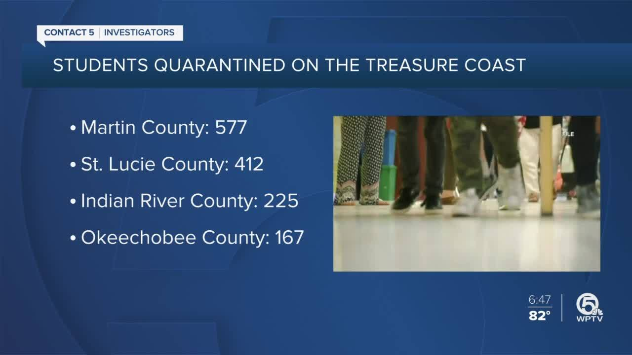 'Students Quarantined on the Treasure Coast' graphic