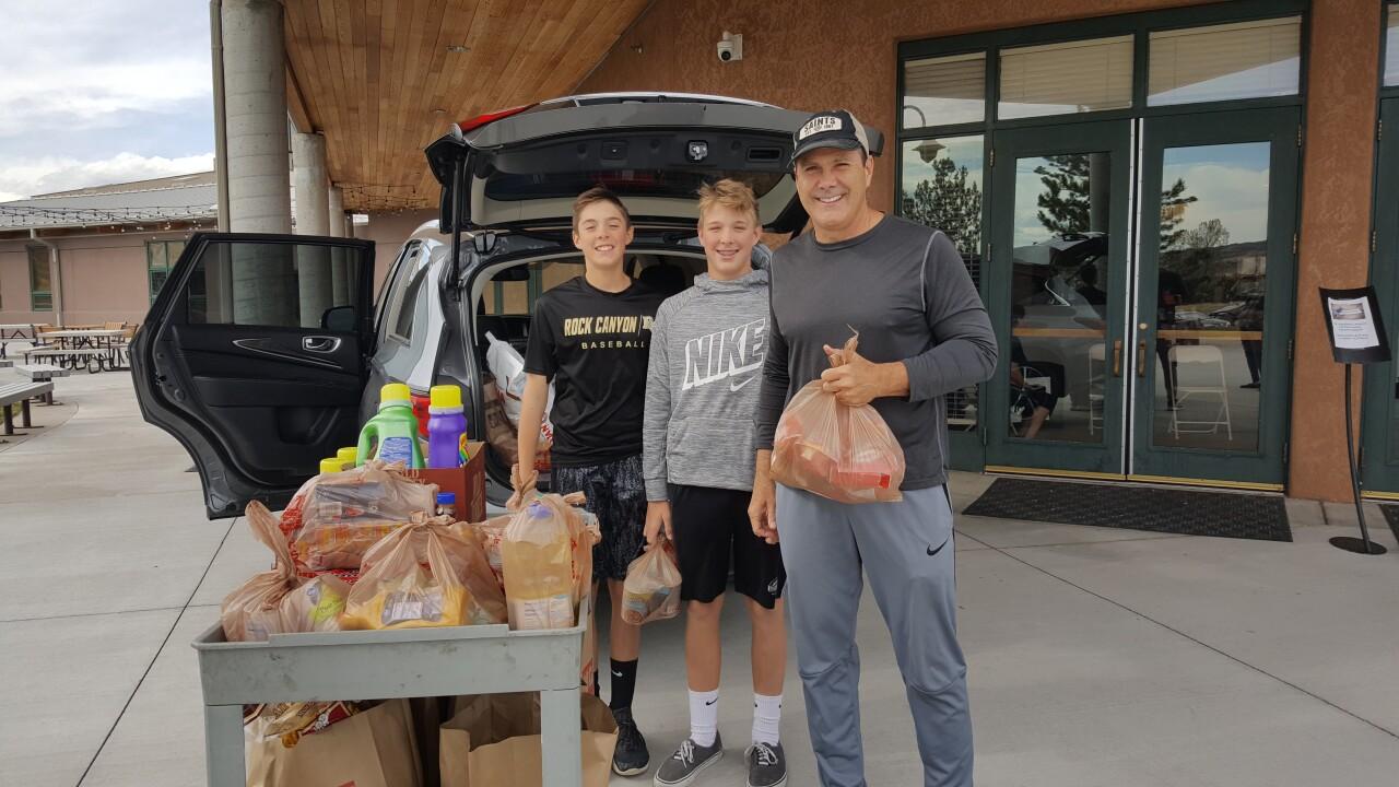Rock Canyon freshman baseball team food drive