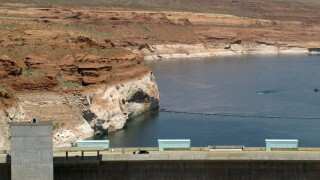 Lake Powell, Glen Canyon Dam Colorado River Drought AP Photo