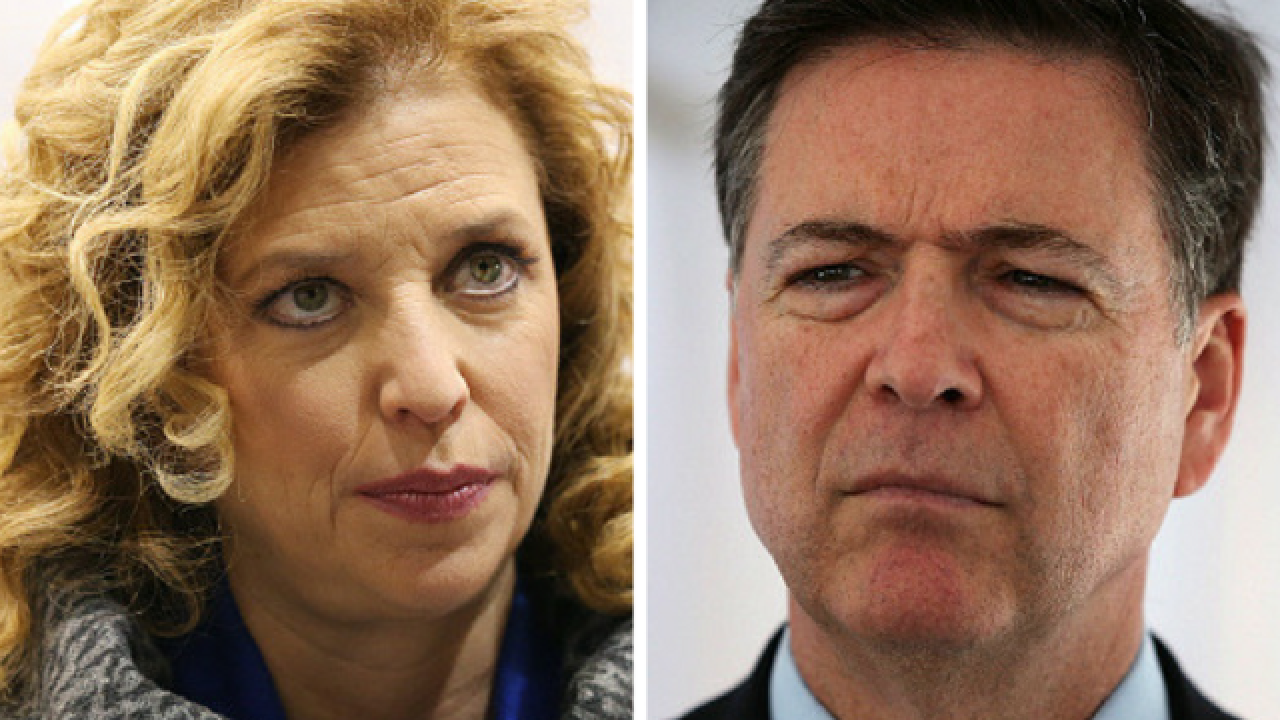 Debbie Wasserman Schultz confronts FBI director James Comey