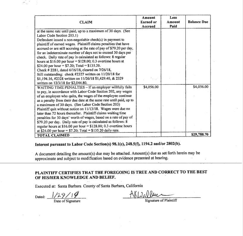 The case Walker filed with the Labor Board tacks on insufficient funds and late fees that Bowengardner could owe.