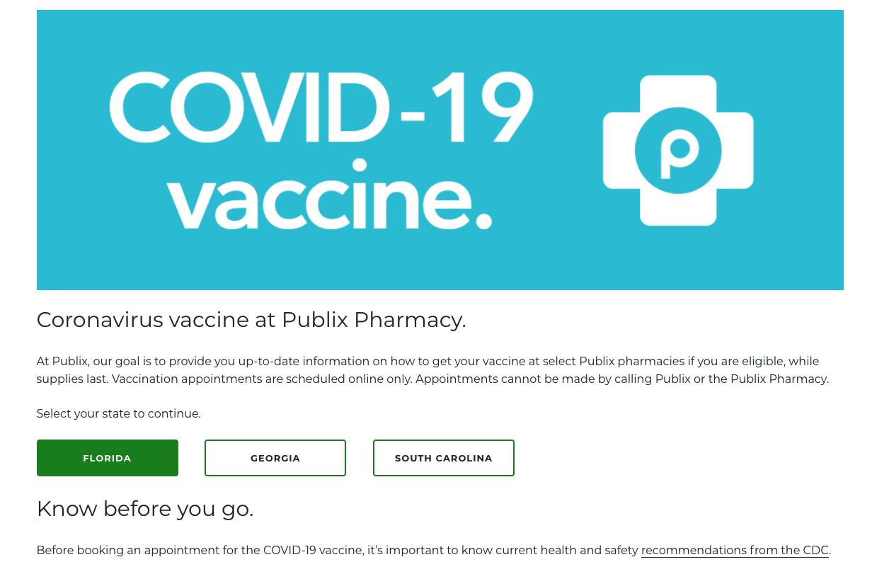 Publix COVID-19 vaccine page, select Florida