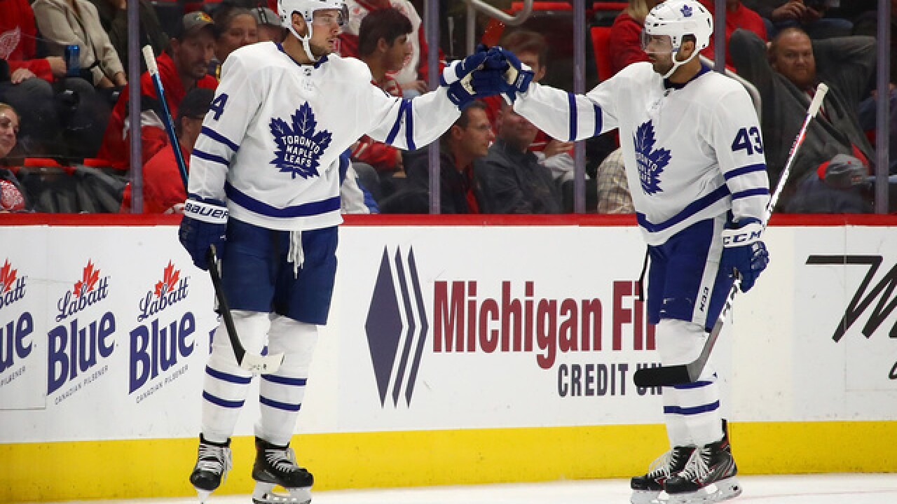 Auston Matthews scores two and helps Maple Leafs beat Red Wings