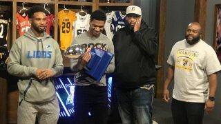 Darius Slay surprises Detroit King QB Dequan Finn with Mr. Football award