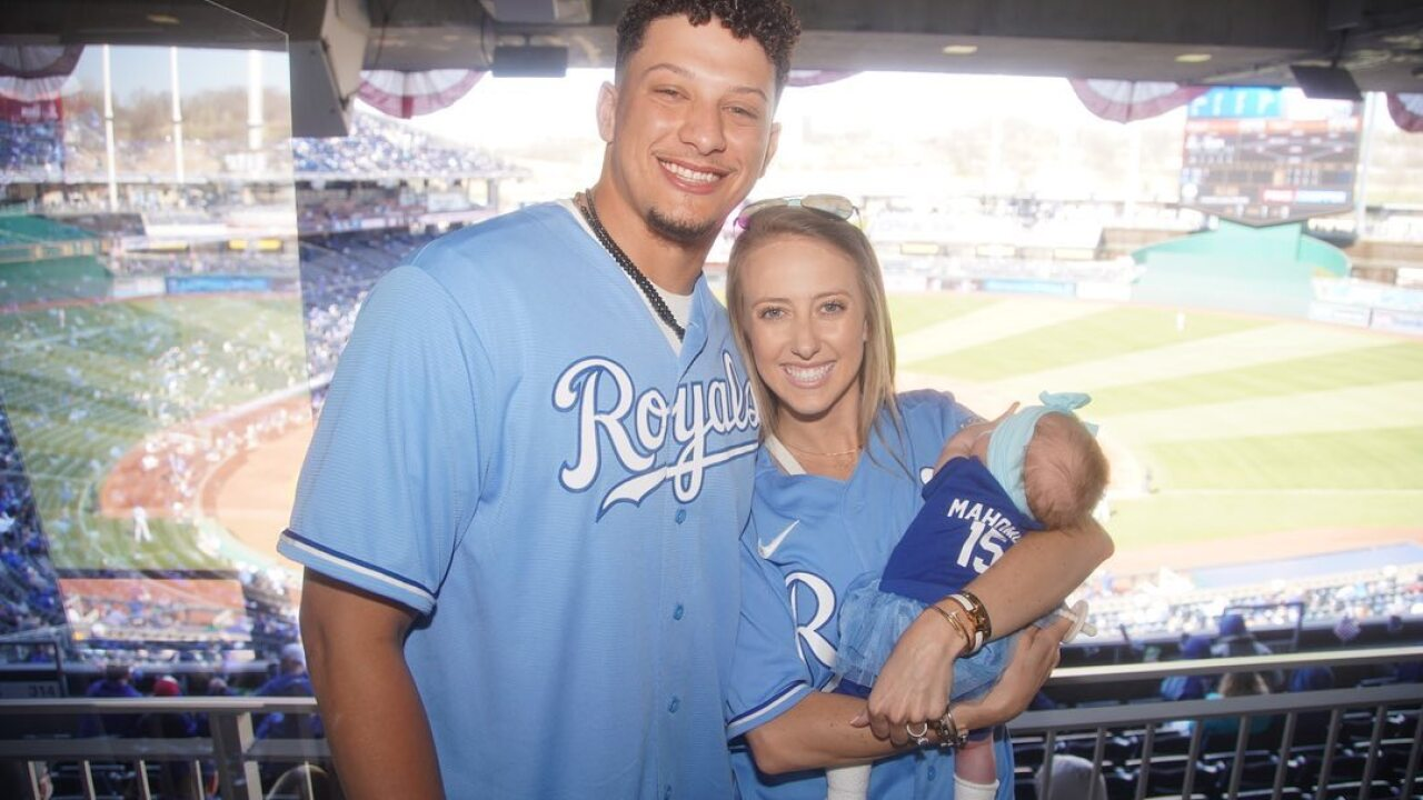 Patrick Mahomes, Sterling Skye, Brittany Matthews Royals Opening Day