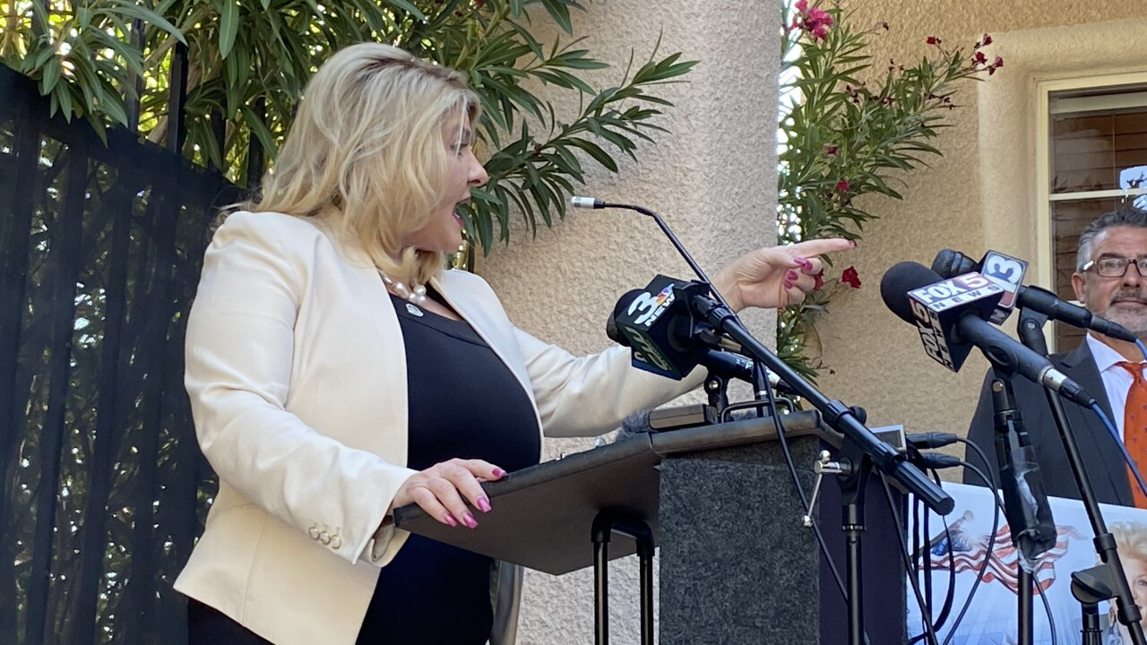 Las Vegas Mayor Pro Tem Michele Fiore gives a news conference on June 11, 2020