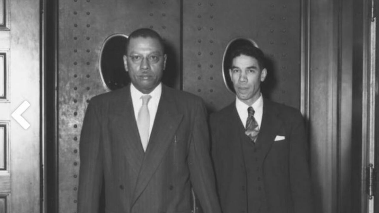 Lyman T. Johnson (right) and Kentucky State University President R.B. Atwood, leave federal district court in Lexington, after the court ruled in favor of Johnson's admission to UK in 1949. Photo from University of Kentucky News: ExploreUK.