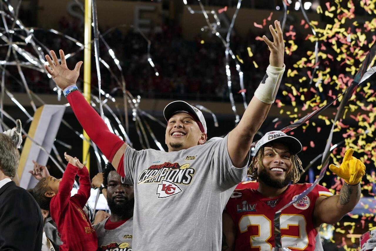 Kansas City Chiefs QB Patrick Mahomes celebrates after winning Super Bowl LIV