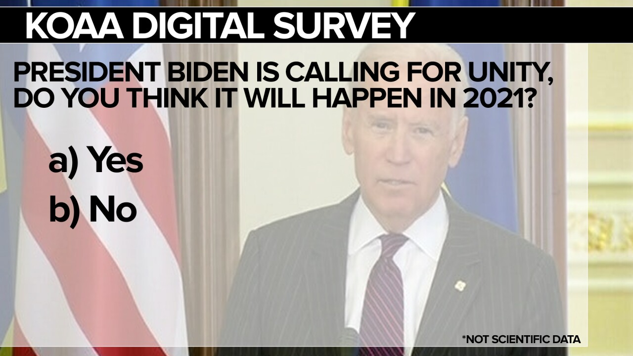 KOAA Survey: President Biden is calling for unity, do you think it will happen in 2021?