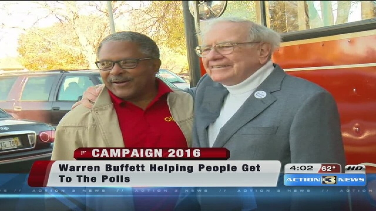 Buffett makes good on providing ride to polls
