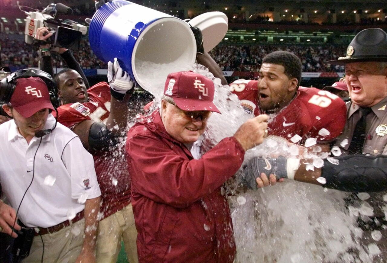 Florida State Seminoles head coach Bobby Bowden doused with water after winning 1999 national championship at Sugar Bowl