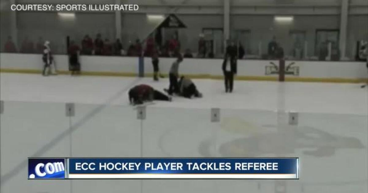 ECC hockey player facing charges after attacking ref