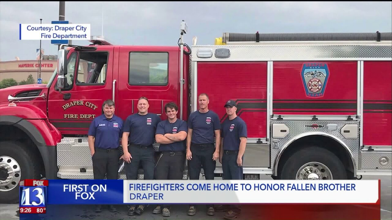 Draper firefighters who battled California wildfire with fallen Battalion Chief return home