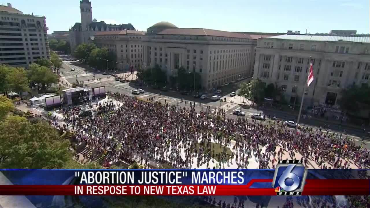 """Thousands march in """"abortion justice"""" marches across nation"""