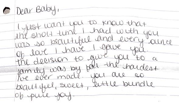 Image of the beginning of the actual letter left inside the Safe Haven Baby Box with baby Mila.