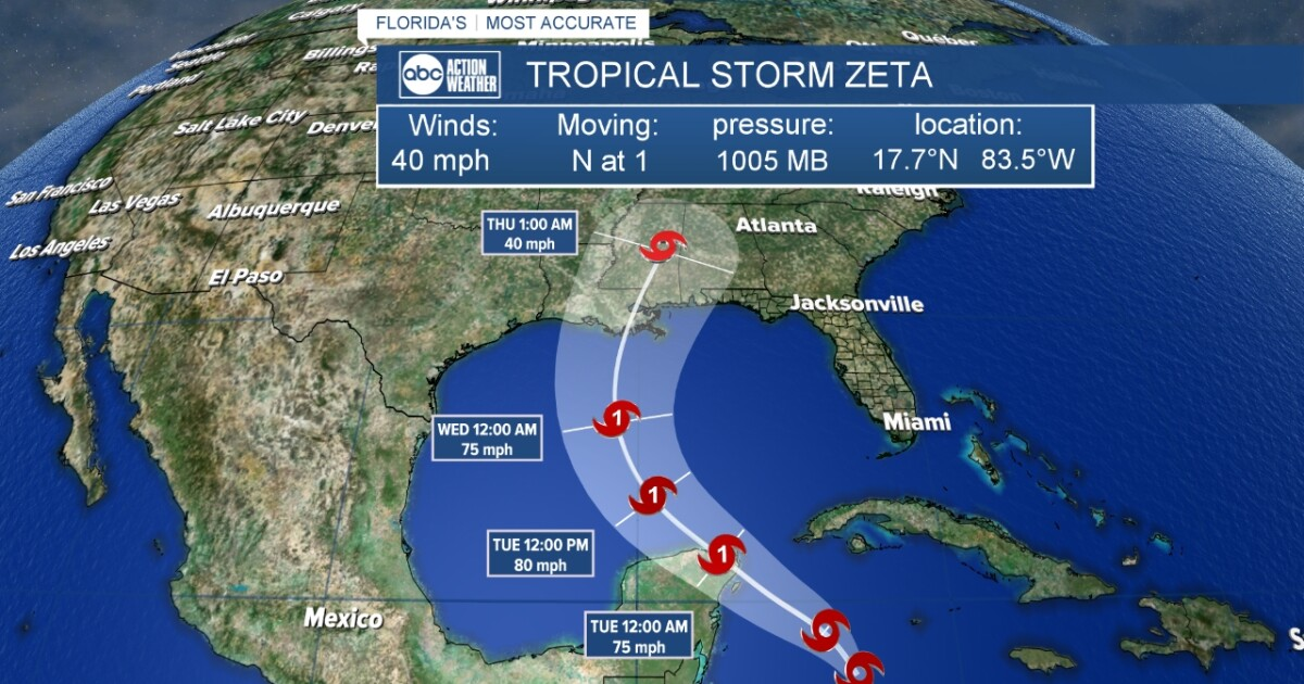 Tropical Storm Zeta expected to develop into a hurricane