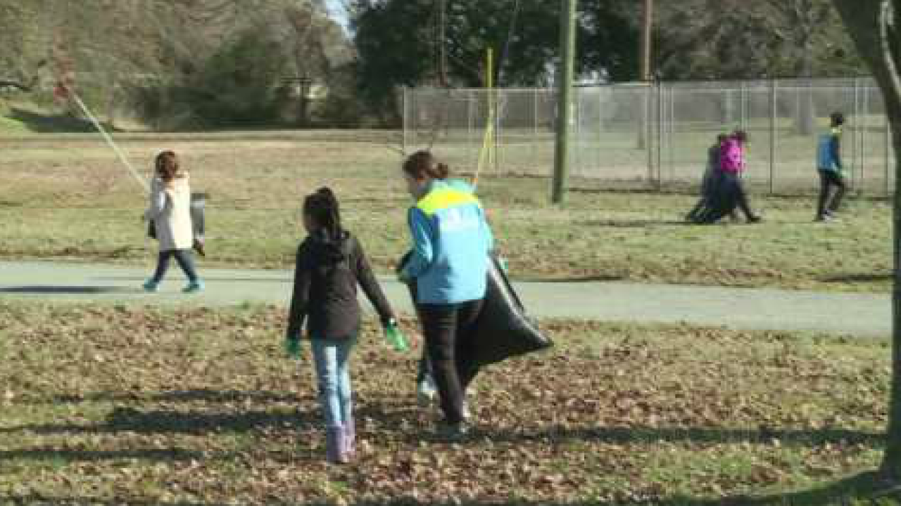 Elementary students clean up for a crime-free zone in Newport News