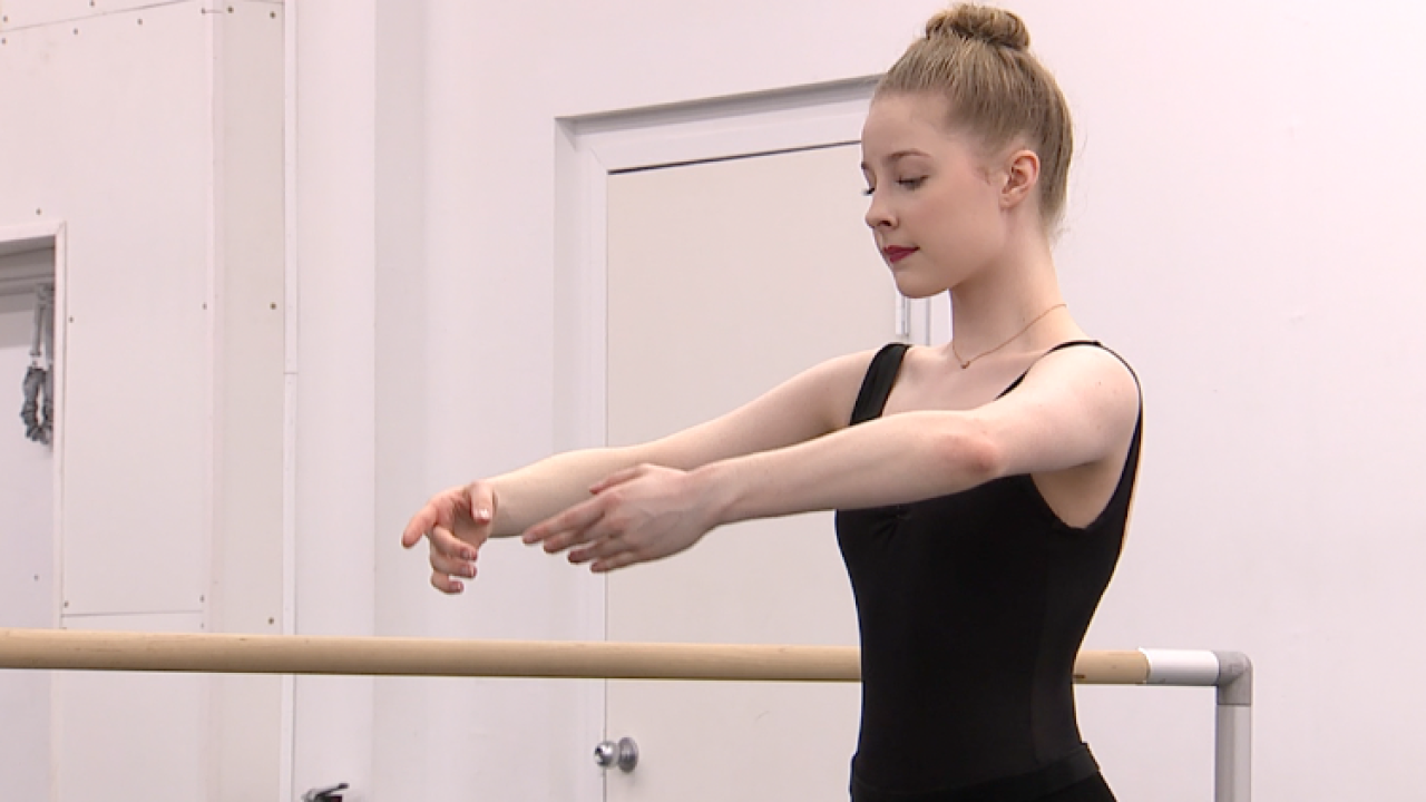 Dancers from the Cleveland Ballet Company rehearse