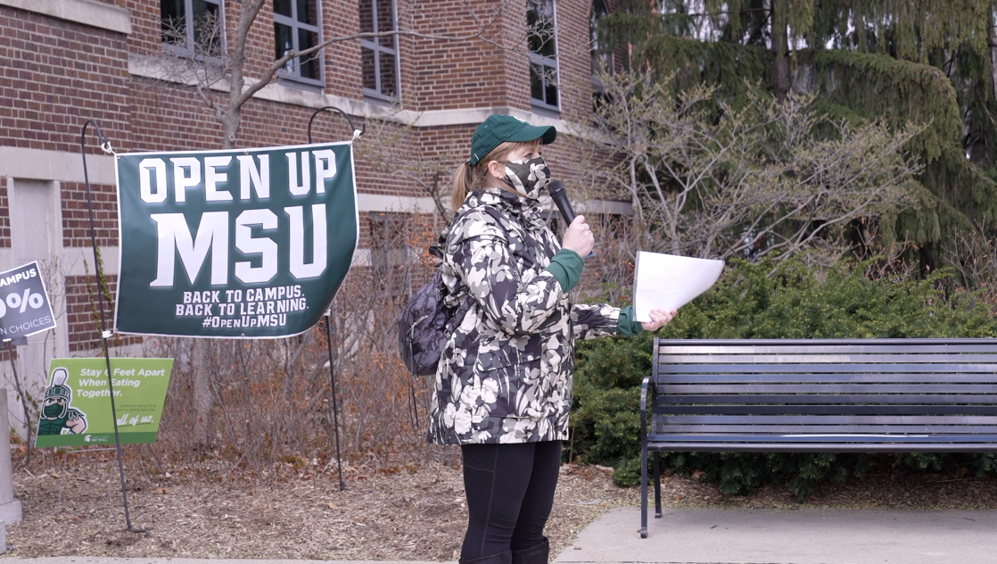 Students and parents rally on MSU's campus for 100 percent in-person classes in the fall