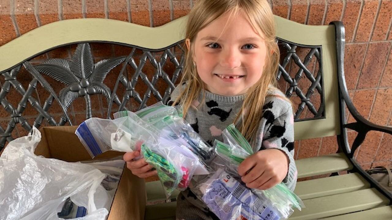 6-year-old sews face masks