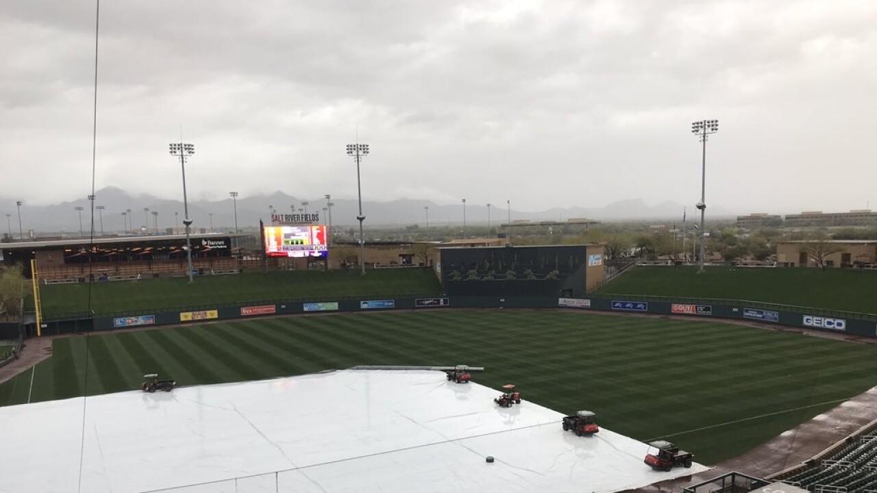 Rain at Salt River Fields on Feb 22 2020