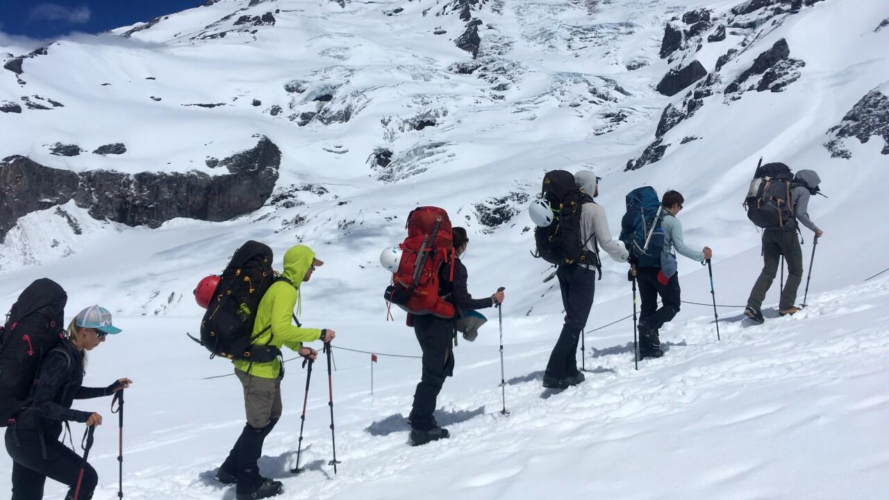 Jennifer Bealer_climbing to Camp Muir on Rainier