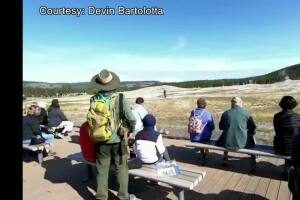 Man seen walking near Old Faithful escapes charges