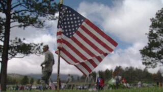Flags placed at the USAFA cemetery ahead of Memorial Day