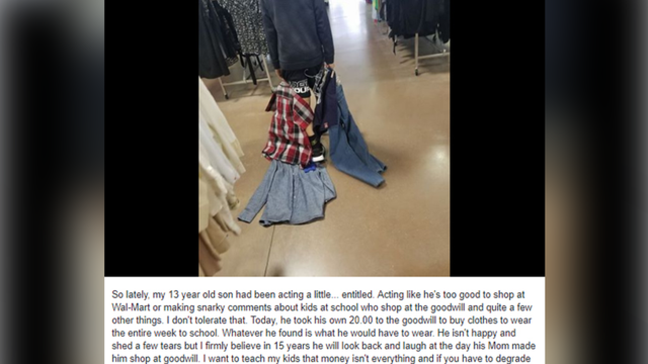 Mother makes son shop at Goodwill after he made 'entitled' remarks