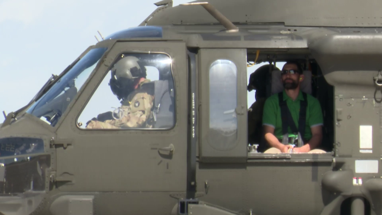 Teachers get a ride in a Montana National Guard helicopter