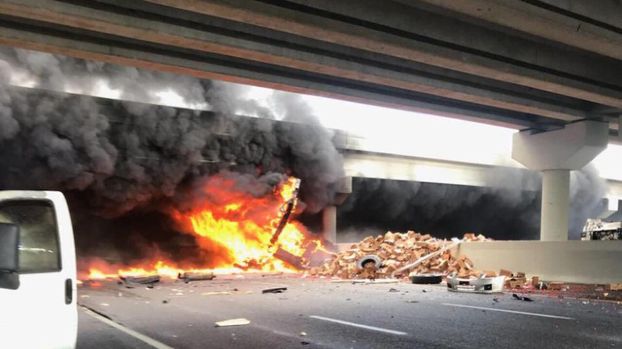 Fiery crash shuts down I-75 and Fowler