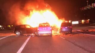 Fiery Multi-car Crash
