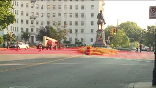 Crews removing statue of Confederate general J.E.B. Stuart in Richmond