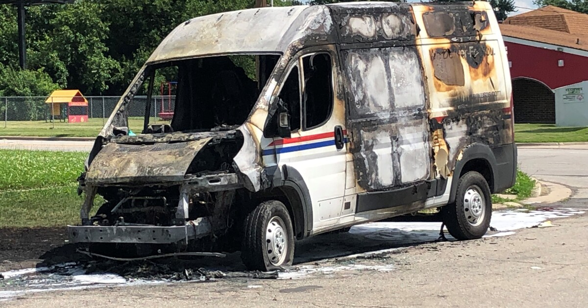 Mail truck catches fire on Indianapolis northwest side